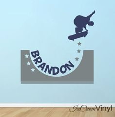 Skateboard Wall Decal with Name for Boys Xtreme by IceCreamVinyl