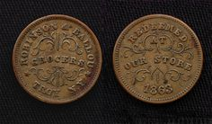 An American (Union) Civil War token of Robinson & Ballou, Grocers, Troy, New York, 1863