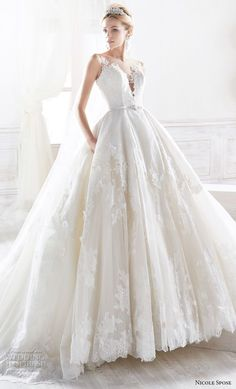 nicole spose 2018 bridal sleeveless illusion bateau sweetheart neckline light embellishment ball gown wedding dress with pockets sheer button back royal train (1) mv fv -- Nicole 2018 Bridal Collection #weddinggowns
