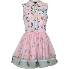 SUPERSWEET x moumi - Ana Mini Dress ($585) ❤ liked on Polyvore featuring dresses, kleider, short summer dresses, summer travel dresses, pink dress, cat print dress and cat dress