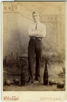 CABINET CARD - BOY WITH INDIAN CLUB AND DUMBBELLS.