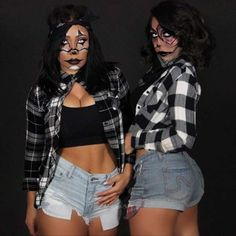 31 Halloween Costume Ideas for You and Your BFF Scary Couples Costumes, Gangster Halloween Costumes, Unique Couple Halloween Costumes, Halloween Costumes For Girls, Halloween Kostüm, Gangster Clown, Halloween Makeup, Halloween Photos, Vintage Halloween