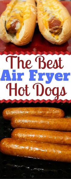 Air Fryer Oven Recipes, Air Fryer Dinner Recipes, Air Fryer Hot Dog Recipe, Recipes Dinner, Breakfast Recipes, Kumquat Confit, Fried Hot Dogs, Beef Hot Dogs, Cooks Air Fryer