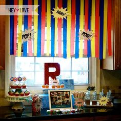 Super Hero decor...easy crepe paper streamer backdrop:: Window decorating