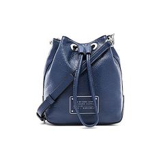 Marc by Marc Jacobs Too Hot To Handle Drawstring Bucket Bag Bags (11,880 PHP) ❤ liked on Polyvore featuring bags, handbags, shoulder bags, leather bucket bag, blue leather purse, leather handbags, leather purse and man bag