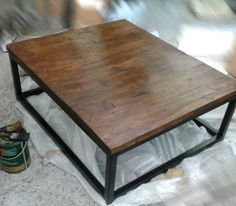 Industrial Style VINTAGE COFFEE TABLE Chunky Waxed Top by breuhaus