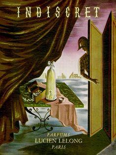 """Lucien LeLong """"Indiscret"""" Perfume Ad, Jean Picard Le Doux, 1940"""