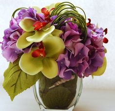 Purple Hydrangeas and Lemongreen Orchids-Silk Floral Arrangement | floraldesignsbyalka - Floral on ArtFire