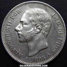 1885(87) MS-M Alfonso XII Spanish Silver 5 Pesetas (MSM)