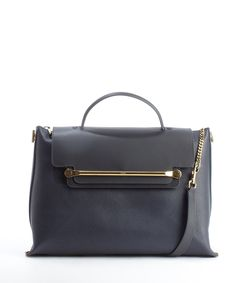 Chloe navy and black leather front flap 'Clare' convertible tote bag | BLUEFLY up to 70% off designer brands