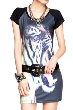 Wild Tiger Print T-Shirt Dress  www.delapunc.com