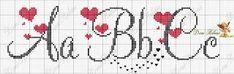 ENCANTOS EM PONTO CRUZ: Monograma em Ponto Cruz de Coração Cross Stitch Alphabet Patterns, Embroidery Alphabet, Cross Stitch Letters, Cross Stitch Heart, Cross Stitch Borders, Embroidery Fonts, Cross Stitch Designs, Cross Stitching, Cross Stitch Embroidery