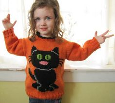 Child's black Cat Sweater free halloween knitting pattern