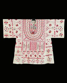 Africa | Woman's blouse / shirt.  Bornu, Nigeria | Cotton; Silk, embroidered | 19th century