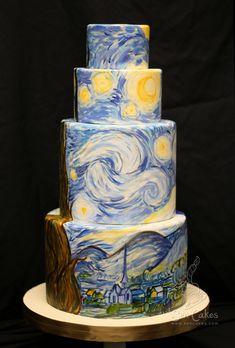 Starry Night On A Cake | Starry Night Wedding Cake | CAKE STORIES by Rose Sen