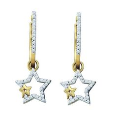 0.25ctw Star Shape Diamond Dangle Earrings