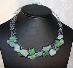 From the Sea - NEW - Crochet Wire Wrapped Genuine Found Sea Glass Choker Necklace by Kristen Stein. $225.00, via Etsy.