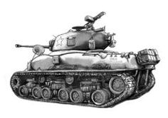 Sketch Drawings - USA army tank in world 2 drawing art poster  by Kim Wang