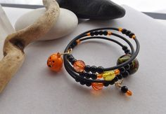 Black and Orange Beaded Memory Wire Bracelet with by Sparklesalot2, $11.50