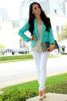 bright blazer with white jeans by lea