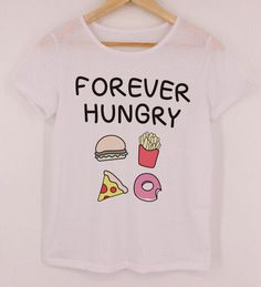 Sea-mao 2016 Newest Summer Style Women t shirts for Sale FOREVER HUNGRY Donuts Print Kawaii Harajuku Tops Shirts For Girls F1756