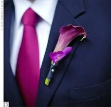 The guys will be doing something more casual for us, but I like the colors and the boutonniere.