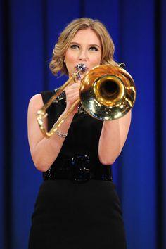 Scarlett Johansson playing Trombone!