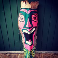 First one, beginners Luck! Palm Tree Crafts, Palm Tree Art, Palm Trees, Palm Frond Art, Palm Fronds, Tiki Faces, Branch Art, Tiki Mask, Bamboo Art