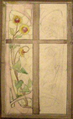 Pencil & Watercolour on Paper. Leaded Glass, Stained Glass Art, Art Nouveau, Victorian Life, Window Design, Impressionism, Art Decor, Nancy France, Vintage World Maps