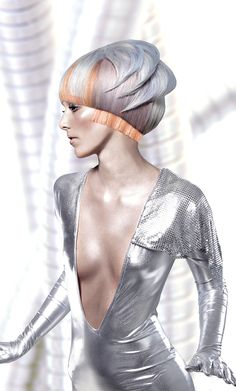 futuristic fashion | ... , hairstyle, silver hair, girl in silver, futuristic look, fashion