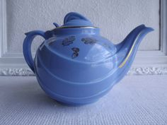 Vintage Hall Tea Pot Cadet Blue Parade Six Cup 0789 Circa 1950's