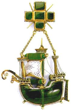 The Caravel Pendant made in gold, emeralds and enamel. A renaissance marvel. From the Hermitage Museum. ECELLENT reporoductions being made now Renaissance Jewelry, Medieval Jewelry, Ancient Jewelry, Antique Jewelry, Gold Jewelry, Vintage Jewelry, Byzantine Jewelry, Art Nouveau, Royal Jewels