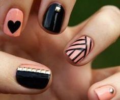 Nail art ~ I love the thumb nail design, and now I have studs so I can do them :)