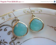 10 OFF VACATION SALE Pacific Aqua Mint Earrings Blue by laalee, $25.20