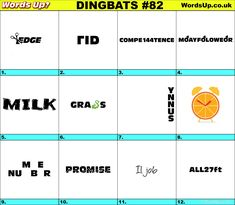 Dingbats & Whatzits Rebus online and printable Puzzles Rebus Puzzles, Printable Puzzles, Logic Puzzles, Word Puzzles, Im Bored, Word Up, Word Games, Brain Teasers, Free Quotes