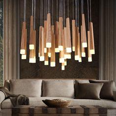 Wooden Pendant Lamp //Price: $364.99 & FREE Shipping //     #diy