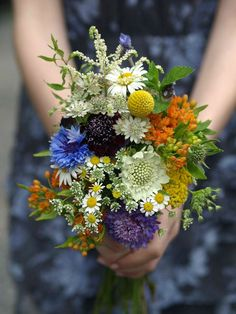 17 Beautiful Wildflower Wedding Bouquet Ideas - on this link. This one is a nice shape and mix for bride may be? - £40 - 50