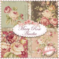 A beautiful, Victorian-inspired collection from Quilt Gate Fabrics, Mary Rose Amelia brings you all the vintage charm you need! http://www.shabbyfabrics.com/Mary-Rose-Amelia-C1258.aspx