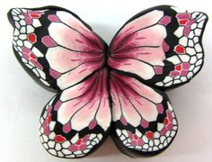 Polymer clay milefiore pink butterfly canes. by tamishvat on Etsy,