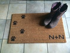 Great Doormat / Welcome Mat Personalized With Custom Initials And Dog / Cat Paw  Prints   Natural Coir