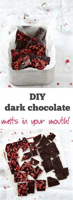 Easy 3 ingredient dark chocolate made from scratch - refined sugar free & gluten free | Plus Ate Six