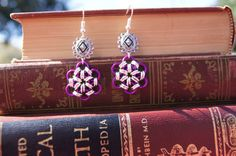 Delicate Purple and Silver Chainmaille Earrings by caitlinjohns, $10.00