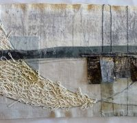 Debbie Lyddon : Large Marshscape – White Loops and Tree Vertical Lines, Cloth, Stitch, Wax, approx. Art Fibres Textiles, Textile Fiber Art, Textile Artists, Textiles Techniques, Art Techniques, Mixed Media Collage, Collage Art, Stitching On Paper, Quilt Modernen