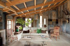 rustic home theme living room with tin walls : Rustic Home Theme. home theme ideas,rustic home design,rustic home design pictures,rustic home ideas,rustic themed house Livable Sheds, Casas Country, Home Interior, Interior Design, Interior Walls, Tin House, Farm House, Tin Walls, Metal Walls