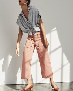 madewell x as ever brancusi pants worn with central shirt, the raquel pump + shapes bracelet.