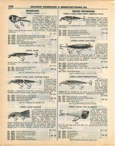 1940 ADVERTISEMENT Creek Chub Lure Jointed Pikie Dinger Heddon River Runt Spook | eBay