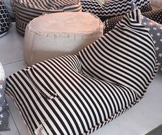 Over sized bean bag, linnen style pouf, reading seat, bean bag chair ,pouf Diy Bean Bag, Bean Bags, Baby Bean Bag Chair, Bean Bag Design, Pouf Chair, Pool Furniture, Cozy Nook, Deck Chairs, Floor Cushions