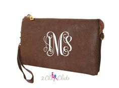 Monogram Crossbody Purse, monogram clutch, monogram purse, bridesmaids gift, monogram wristlet, personalized purse wallet crossbody bag by 2chichicks on Etsy