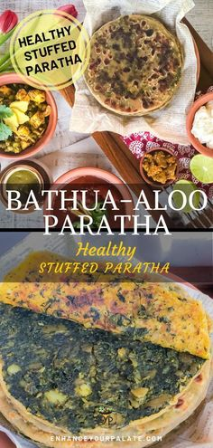 Bathua-Aloo Paratha is one of the fond memories I have from my childhood. Though I love any sort of stuffed paratha, but when it comes to Bathua-Aloo, they are special. This recipe is also popular as Bathua Paratha. This is the most relished bathua recipe of all. One reason could be Bathua is a seasonal green, available only for a short duration in winter season. The less the availability of product the more you enjoy it. Is that true for you too. Indian Flat Bread, Indian Breads, Vegetarian Recipes For Beginners, Vegetarian Meals, Vegan Recipes, Free Recipes, Stuffed Paratha, Brunch Recipes, Breakfast Recipes