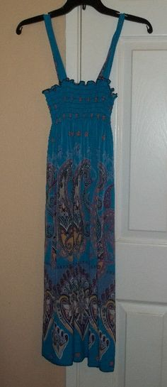 SPAGHETTI STRAP SMOCK TOP  BLUE PAISLEY PRINTED SUNDRESS #Sundress #Casual